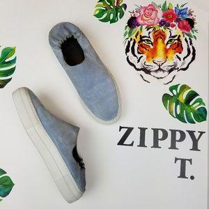 Tibi charlie slip on sneaker slides blue suede